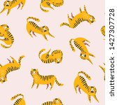 funny tigers repeat print.... | Shutterstock .eps vector #1427307728