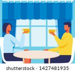 faceless man and woman in cafe...   Shutterstock .eps vector #1427481935