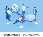 isometric time is money concept.... | Shutterstock .eps vector #1427502998