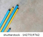 Yellow And Blue Pvc Pipe Lay On ...