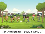 colorful park in the city with... | Shutterstock .eps vector #1427542472