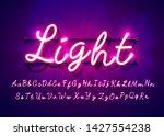 neon tube hand drawn alphabet... | Shutterstock .eps vector #1427554238