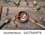 copper singing bowl  prayer...   Shutterstock . vector #1427564978