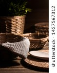 basket with a brown cloth in it....   Shutterstock . vector #1427567312