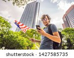 travel and technology. young...   Shutterstock . vector #1427585735
