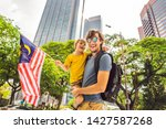 dad and son tourists in...   Shutterstock . vector #1427587268