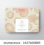 coconut soap cardboard box....   Shutterstock .eps vector #1427600885