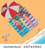 girls tanning with swimwear... | Shutterstock .eps vector #1427615042