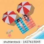 girls tanning with swimwear... | Shutterstock .eps vector #1427615045