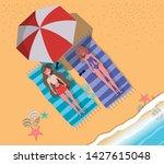 girls tanning with swimwear... | Shutterstock .eps vector #1427615048