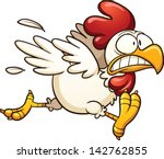 Scared Cartoon Chicken. Vector...