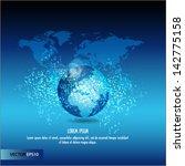 silver world map | Shutterstock .eps vector #142775158