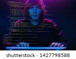 hacker working with computer in ...   Shutterstock . vector #1427798588
