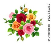 vector bouquet with red  pink ... | Shutterstock .eps vector #1427851382