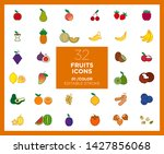 set of fruits icons in color   | Shutterstock .eps vector #1427856068