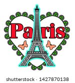 eiffel tower and heart with... | Shutterstock .eps vector #1427870138
