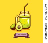 jar with green smoothie with... | Shutterstock .eps vector #1427877695