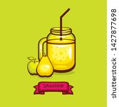 jar with smoothie with apple... | Shutterstock .eps vector #1427877698