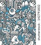 seamless hipster doodle monster ... | Shutterstock .eps vector #142791832