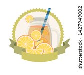 glass with orange and straw... | Shutterstock .eps vector #1427949002