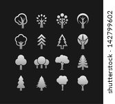 ecology symbols. tree icons. | Shutterstock .eps vector #142799602