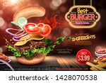 delicious hamburger ads with... | Shutterstock .eps vector #1428070538