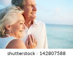 senior couple getting married... | Shutterstock . vector #142807588