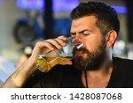 happy elegant man drinking beer.... | Shutterstock . vector #1428087068