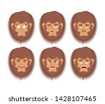 Stock photo bigfoot emoji set yeti sad and angry face abominable snowman guilty and sleeping avatar 1428107465