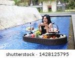 women drinking coffee breakfast ... | Shutterstock . vector #1428125795