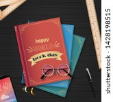 world book day with stack of... | Shutterstock .eps vector #1428198515