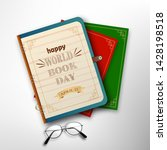 world book day with stack of... | Shutterstock .eps vector #1428198518