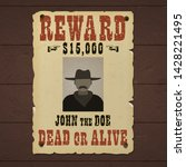 reward poster. wanted dead or... | Shutterstock .eps vector #1428221495