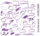 set of many hand drawn arrows... | Shutterstock .eps vector #142822885