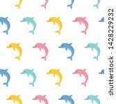 cute colorful dolphins seamless ... | Shutterstock .eps vector #1428229232