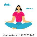 woman meditating in lotus pose  ... | Shutterstock .eps vector #1428259445