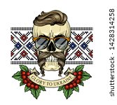 hand drawn color sketch  skull... | Shutterstock .eps vector #1428314258