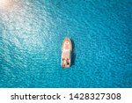 Aerial view of luxury yacht in...