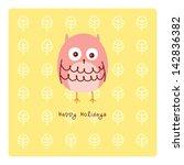 happy owl holidays | Shutterstock .eps vector #142836382