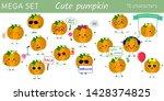 mega set of fifteen cute kawaii ... | Shutterstock .eps vector #1428374825