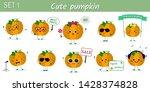 set of ten cute kawaii pumpkin... | Shutterstock .eps vector #1428374828