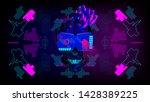 cyberpunk skull with implants...