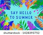 summer vector illustration with ... | Shutterstock .eps vector #1428393752