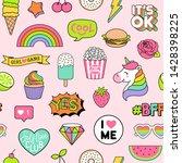 seamless pattern of girls... | Shutterstock .eps vector #1428398225