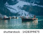 beautiful family is boating at... | Shutterstock . vector #1428399875
