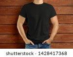 mockup clothes. brawny slim guy ... | Shutterstock . vector #1428417368