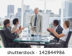 colleagues applauding the boss... | Shutterstock . vector #142844986