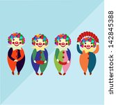 clown army blue background   Shutterstock .eps vector #142845388