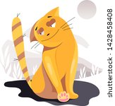 illustrated cats in nature.... | Shutterstock .eps vector #1428458408