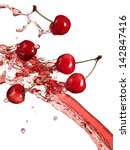 cherries and juice splash | Shutterstock . vector #142847416